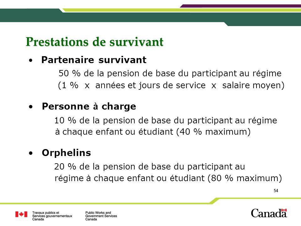 54 Prestations de survivant Partenaire survivant 50 % de la pension de base du participant au r é gime (1 % x ann é es et jours de service x salaire m