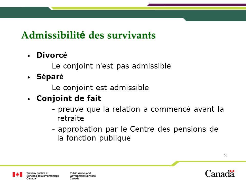 55 Admissibilit é des survivants Divorc é Le conjoint n est pas admissible S é par é Le conjoint est admissible Conjoint de fait - preuve que la relat