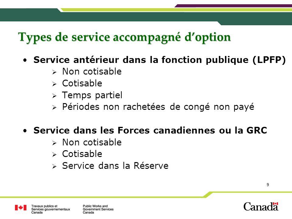 9 Types de service accompagné doption Service antérieur dans la fonction publique (LPFP) Non cotisable Cotisable Temps partiel Périodes non rachetées