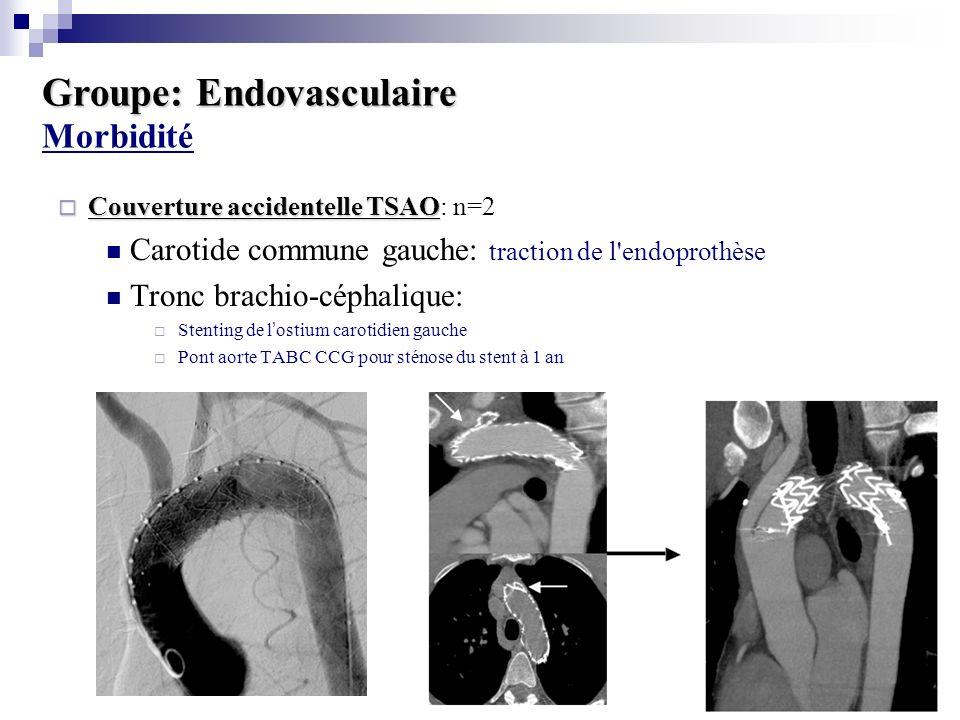 Groupe: Endovasculaire Groupe: Endovasculaire Morbidité Collapsus de lendoprothèse: n=2 Explantation et remplacement prothètique Nouvelle endoprothèse Rupture iliaque: n=1