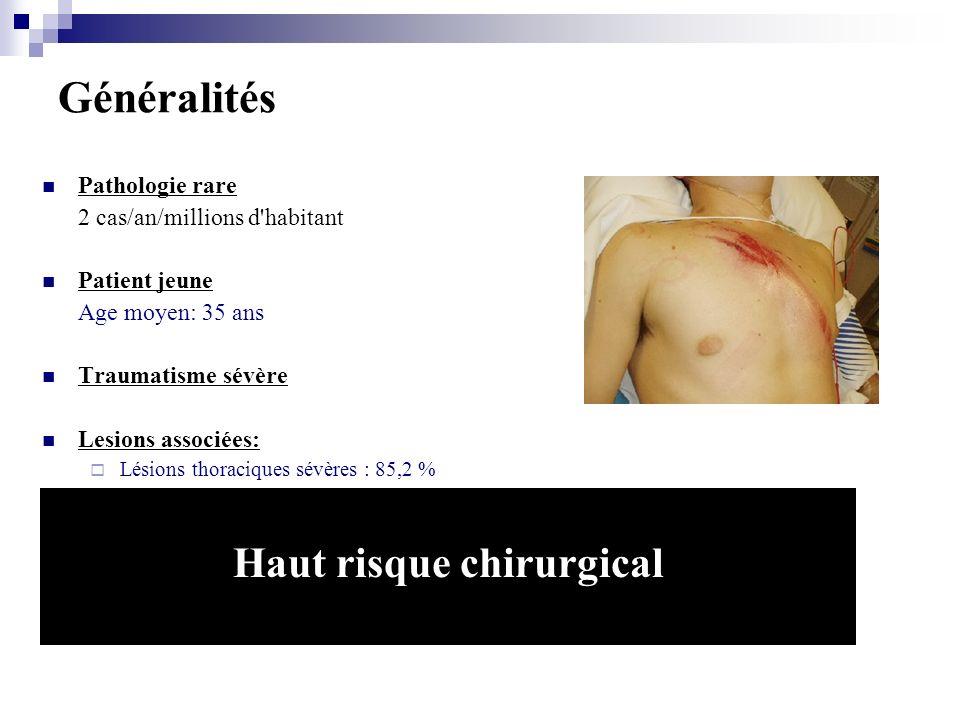 Traitement chirurgical: Mortalité: 8% à 15% Paraplegie: 2.3% à 14% Introduction JVS 2009 Patel JVS 2009