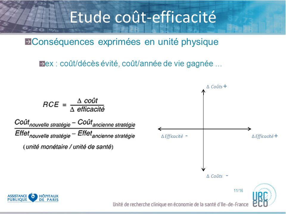 Click to edit Master subtitle style Etude coût-efficacité Conséquences exprimées en unité physique ex : coût/décès évité, coût/année de vie gagnée...