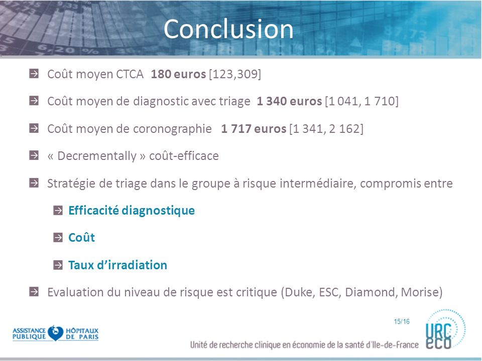 Click to edit Master subtitle style Conclusion Coût moyen CTCA 180 euros [123,309] Coût moyen de diagnostic avec triage 1 340 euros [1 041, 1 710] Coû