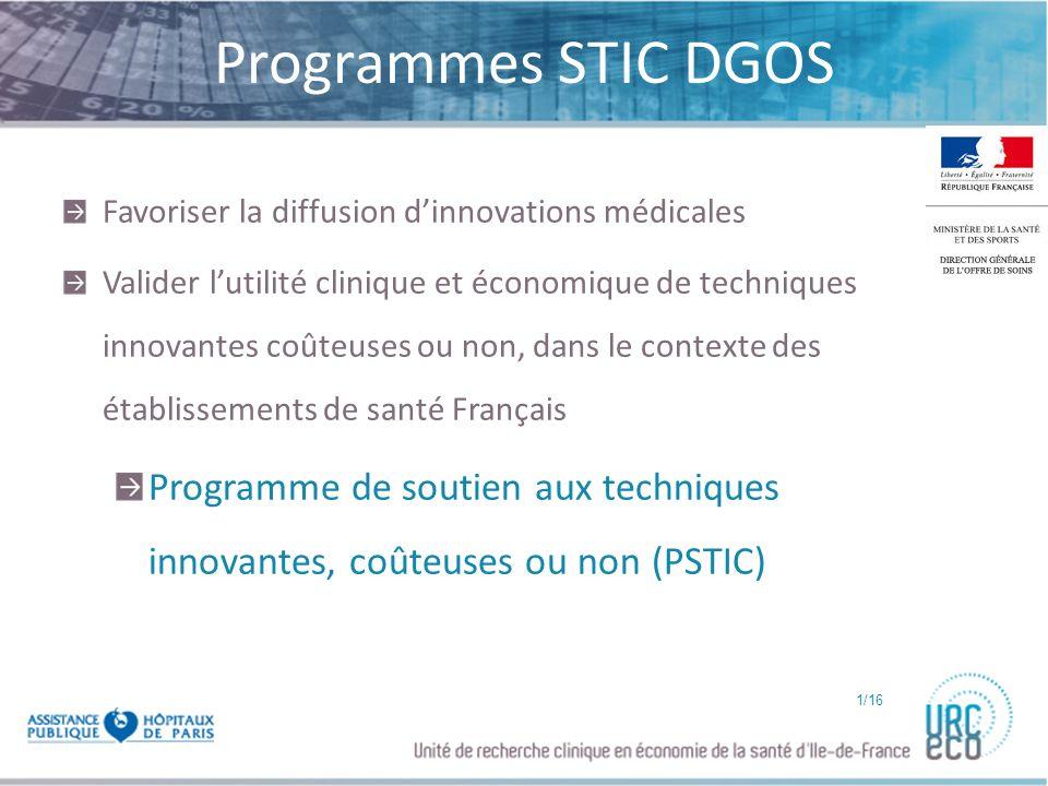 Click to edit Master subtitle style Programmes STIC DGOS Favoriser la diffusion dinnovations médicales Valider lutilité clinique et économique de tech
