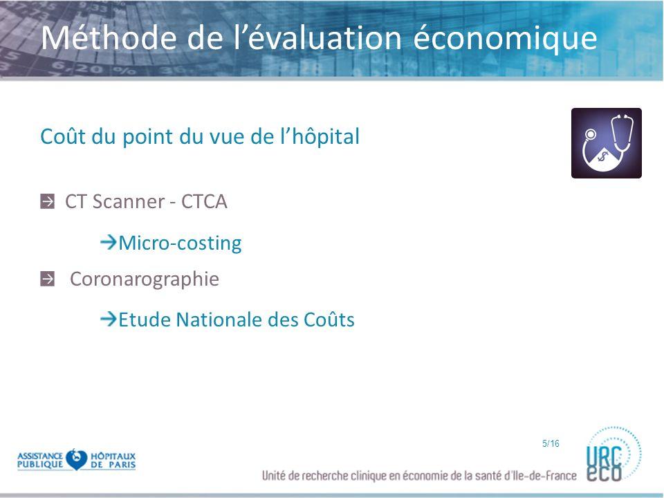 Click to edit Master subtitle style Méthode Coût du point du vue de lhôpital CT Scanner - CTCA Micro-costing Coronarographie Etude Nationale des Coûts 5/16
