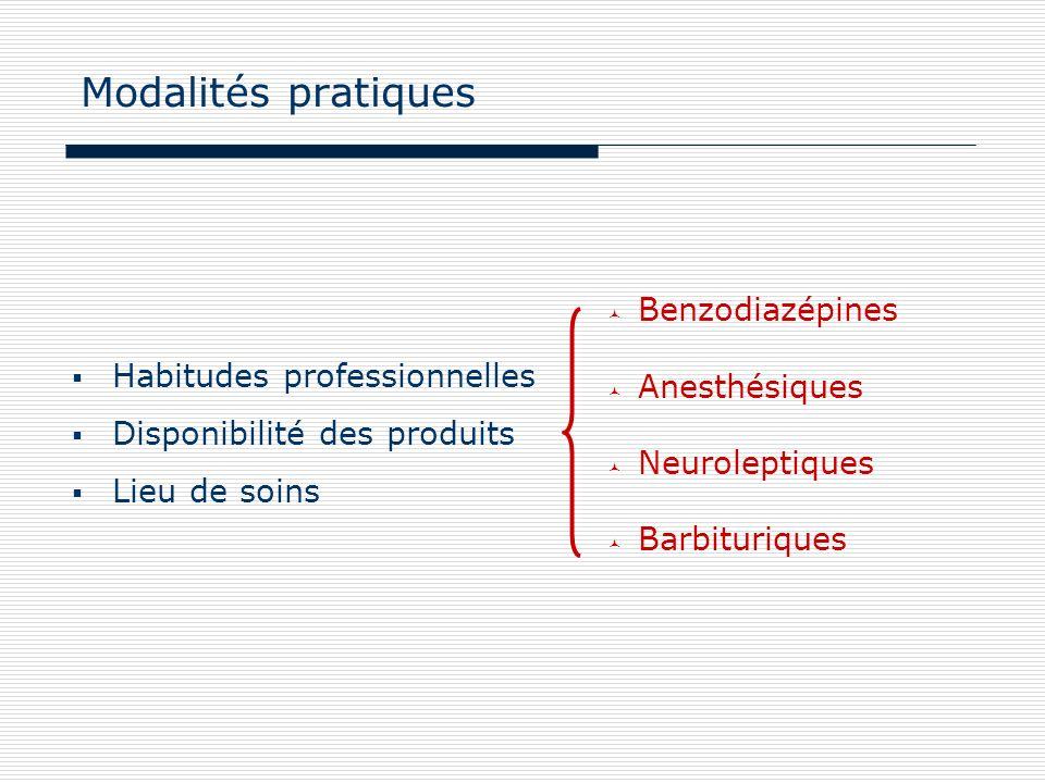 Modalités pratiques Habitudes professionnelles Disponibilité des produits Lieu de soins Benzodiazépines Anesthésiques Neuroleptiques Barbituriques
