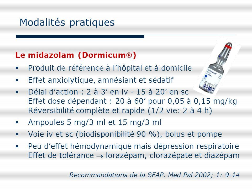 Le midazolam (Dormicum) Produit de référence à lhôpital et à domicile Effet anxiolytique, amnésiant et sédatif Délai daction : 2 à 3 en iv - 15 à 20 e