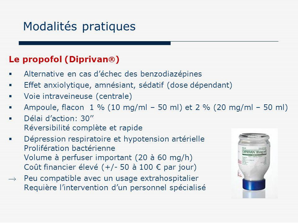 Le propofol (Diprivan) Alternative en cas déchec des benzodiazépines Effet anxiolytique, amnésiant, sédatif (dose dépendant) Voie intraveineuse (centr