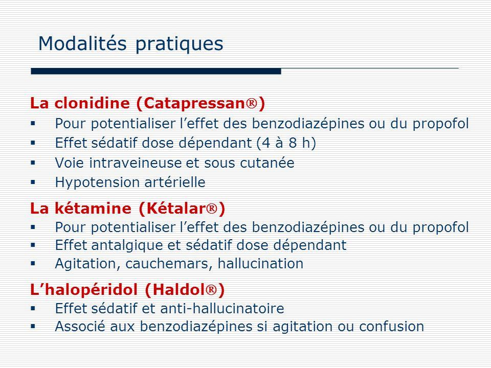 La clonidine (Catapressan) Pour potentialiser leffet des benzodiazépines ou du propofol Effet sédatif dose dépendant (4 à 8 h) Voie intraveineuse et s