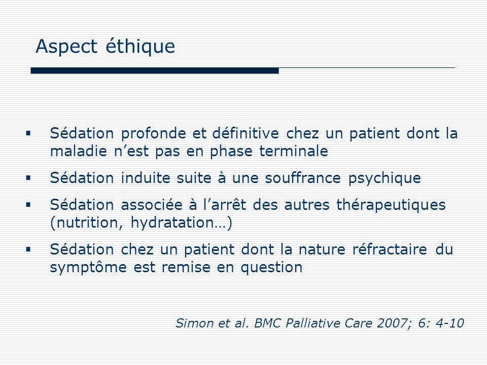 Sédation profonde et définitive chez un patient dont la maladie nest pas en phase terminale Sédation induite suite à une souffrance psychique Sédation