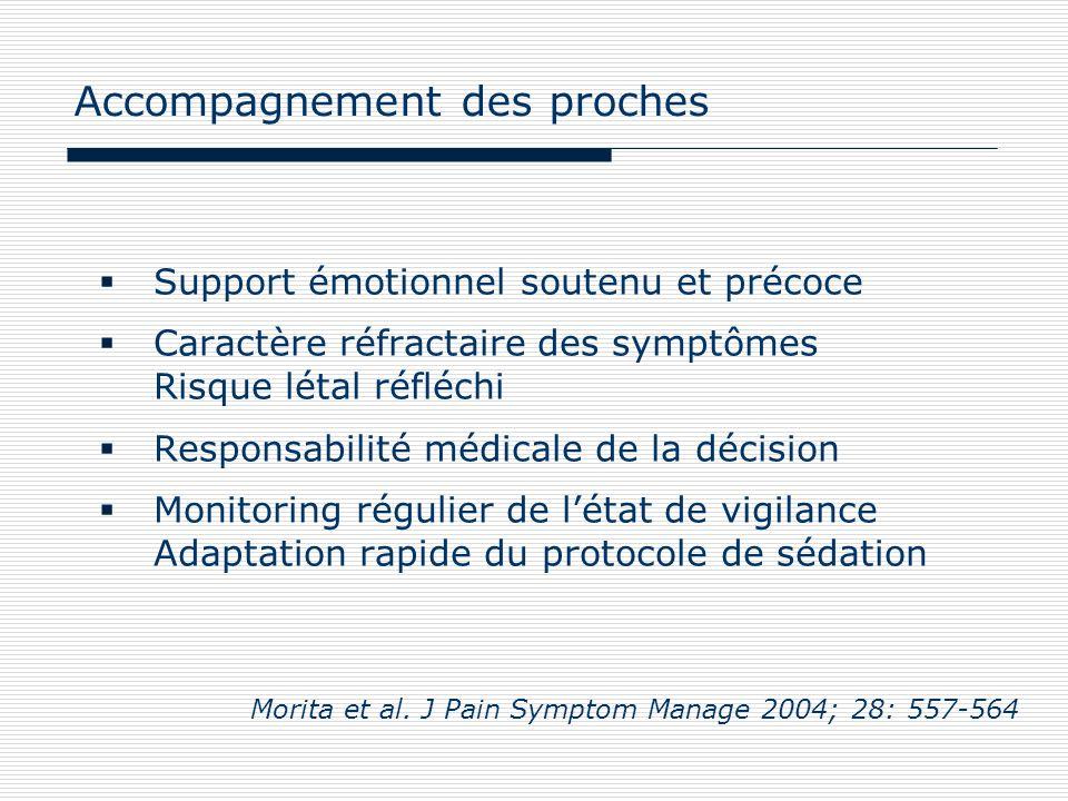 Support émotionnel soutenu et précoce Caractère réfractaire des symptômes Risque létal réfléchi Responsabilité médicale de la décision Monitoring régu