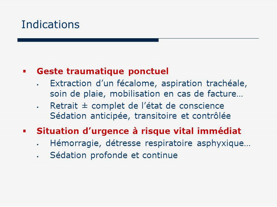 Indications Geste traumatique ponctuel Extraction dun fécalome, aspiration trachéale, soin de plaie, mobilisation en cas de facture… Retrait ± complet