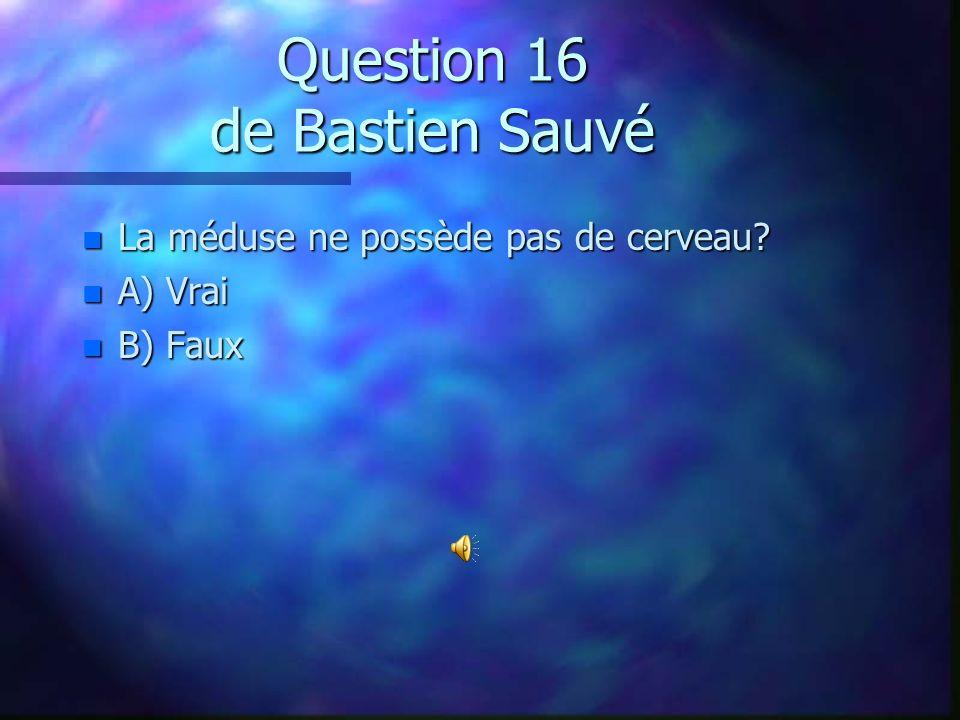 Question 15 de Yanick Ruest n Quel est le plus grand prédateur du dauphin boto? n A) la pieuvre n B) le requin-baleine n C) l`humain