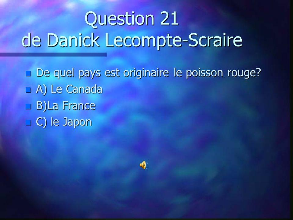 Question 20 de Frédéricke Vincent n Quel pourcentage représente le mieux l`espace occupé par l`eau sur toute la surface de la terre? n A) 45% n B) 70%