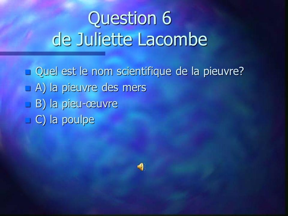 Question 5 de Jessie Kennedy n Quel diamètre peut atteindre la plus grande des méduses? n A) 3 mètres n B) 6 mètres n C) 9 mètres
