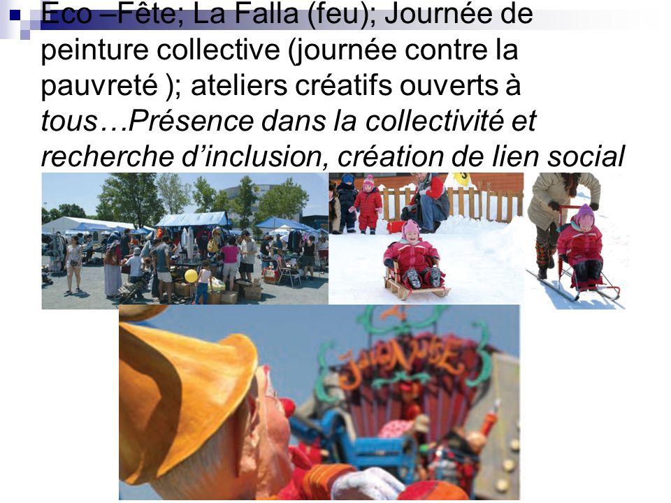 Eco –Fête; La Falla (feu); Journée de peinture collective (journée contre la pauvreté ); ateliers créatifs ouverts à tous…Présence dans la collectivité et recherche dinclusion, création de lien social