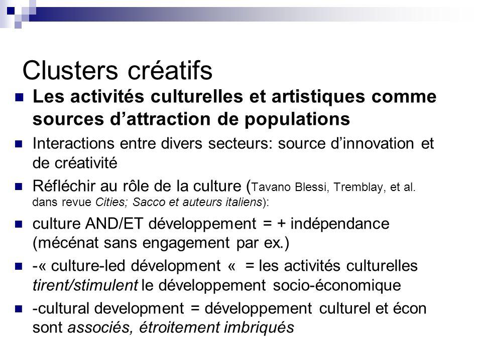 Question: dans quelle mesure les activités créatives peuvent contribuer à la revitalisation et à lattraction de travailleurs créatifs/autres .