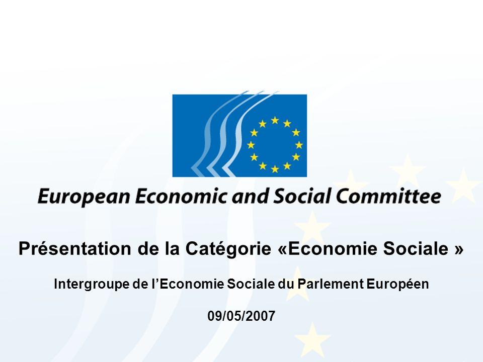 Présentation de la Catégorie «Economie Sociale » Intergroupe de lEconomie Sociale du Parlement Européen 09/05/2007