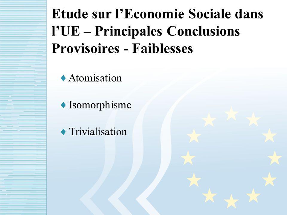 Etude sur lEconomie Sociale dans lUE – Principales Conclusions Provisoires - Faiblesses Atomisation Isomorphisme Trivialisation