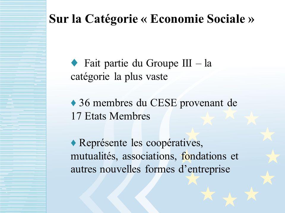 Sur la Catégorie « Economie Sociale » Fait partie du Groupe III – la catégorie la plus vaste 36 membres du CESE provenant de 17 Etats Membres Représente les coopératives, mutualités, associations, fondations et autres nouvelles formes dentreprise