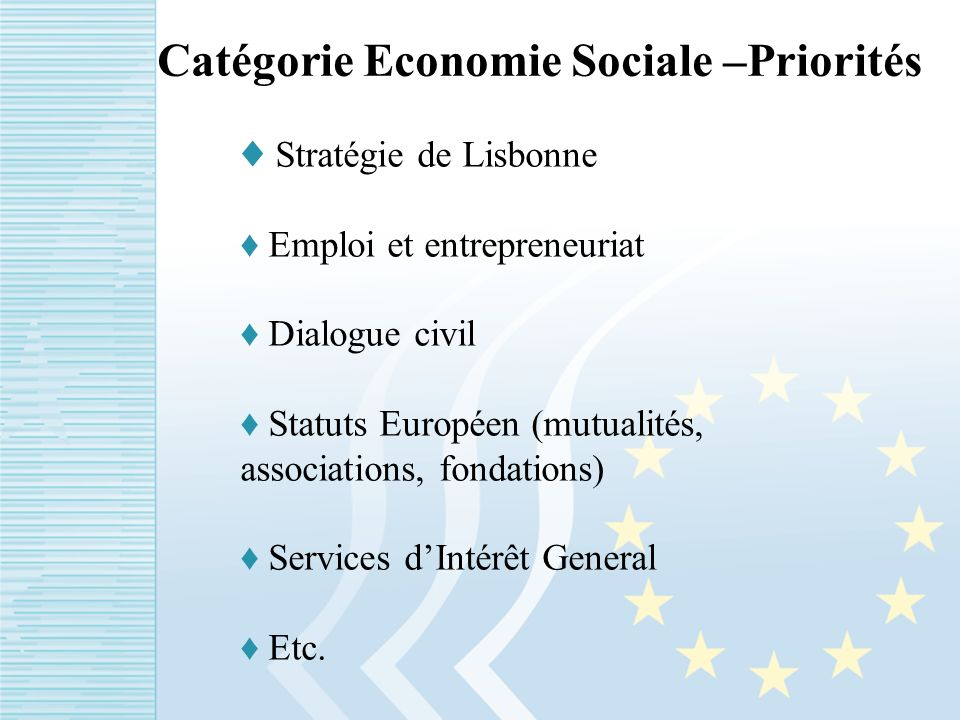 Catégorie Economie Sociale –Priorités Stratégie de Lisbonne Emploi et entrepreneuriat Dialogue civil Statuts Européen (mutualités, associations, fondations) Services dIntérêt General Etc.