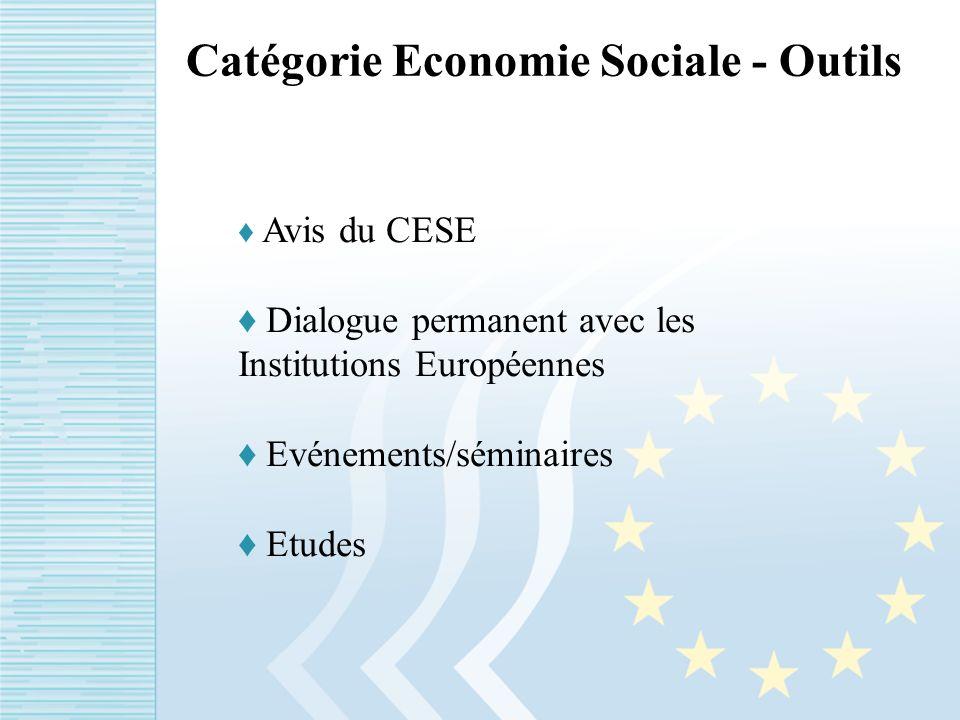 Catégorie Economie Sociale - Outils Avis du CESE Dialogue permanent avec les Institutions Européennes Evénements/séminaires Etudes