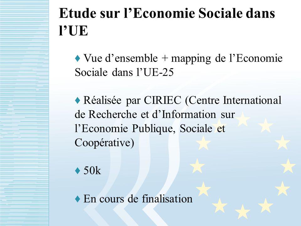 Etude sur lEconomie Sociale dans lUE Vue densemble + mapping de lEconomie Sociale dans lUE-25 Réalisée par CIRIEC (Centre International de Recherche et dInformation sur lEconomie Publique, Sociale et Coopérative) 50k En cours de finalisation