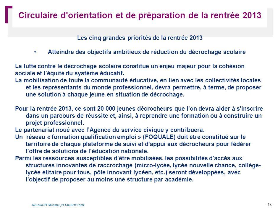 – 16 – Réunion PF MCentre_v1-5Juillet11.pptx Document de travail – pour discussion Circulaire d'orientation et de préparation de la rentrée 2013 Les c