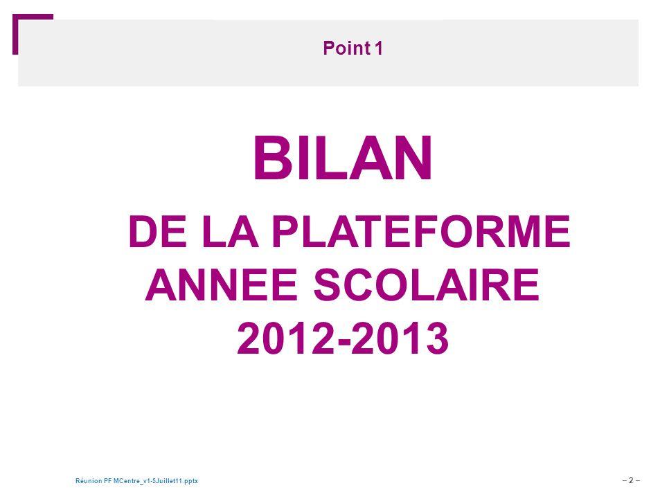 – 2 – Réunion PF MCentre_v1-5Juillet11.pptx Document de travail – pour discussion Point 1 BILAN DE LA PLATEFORME ANNEE SCOLAIRE 2012-2013