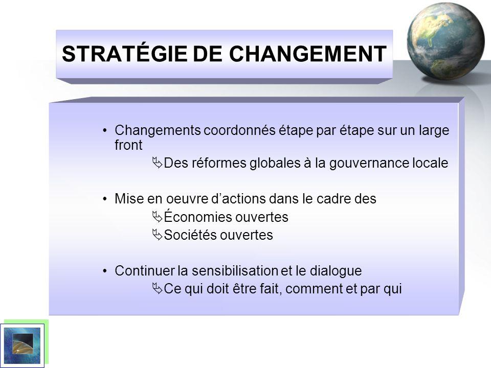STRATÉGIE DE CHANGEMENT Changements coordonnés étape par étape sur un large front Des réformes globales à la gouvernance locale Mise en oeuvre daction