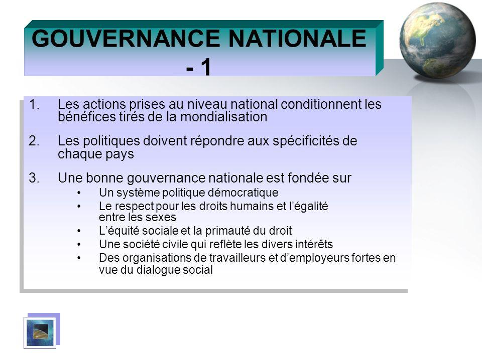 GOUVERNANCE NATIONALE - 1 1.Les actions prises au niveau national conditionnent les bénéfices tirés de la mondialisation 2.Les politiques doivent répo