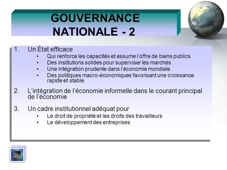 GOUVERNANCE NATIONALE - 2 1.Un État efficace Qui renforce les capacités et assume loffre de biens publics Des institutions solides pour superviser les