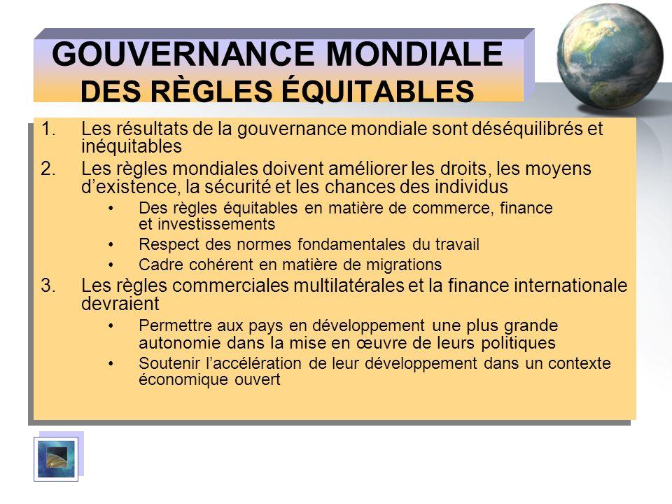 GOUVERNANCE MONDIALE DES RÈGLES ÉQUITABLES 1.Les résultats de la gouvernance mondiale sont déséquilibrés et inéquitables 2.Les règles mondiales doiven