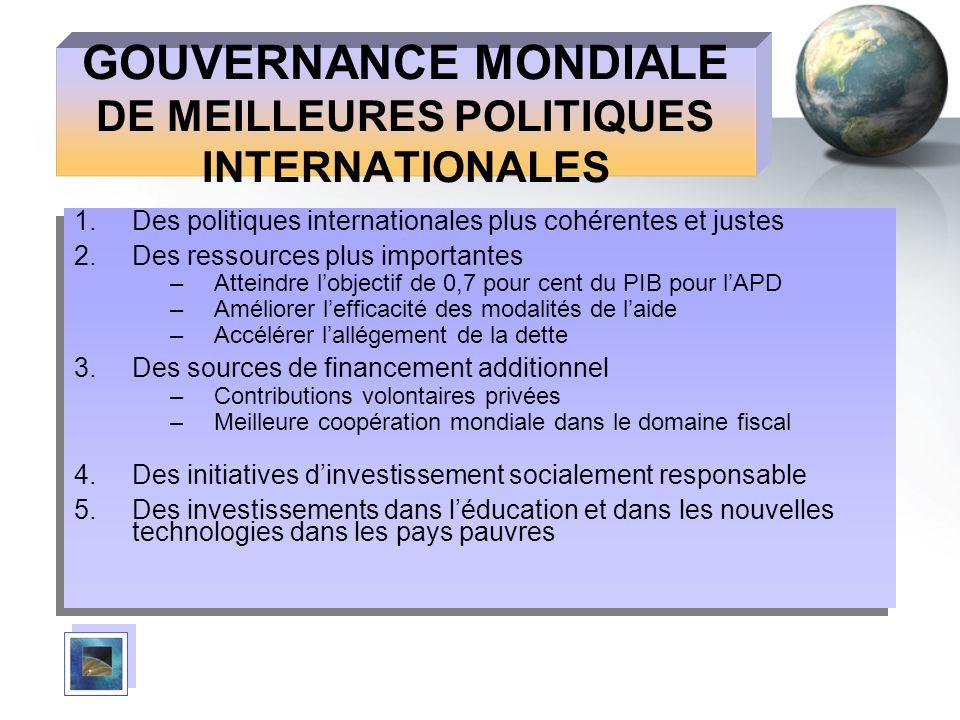 GOUVERNANCE MONDIALE DE MEILLEURES POLITIQUES INTERNATIONALES 1.Des politiques internationales plus cohérentes et justes 2.Des ressources plus importa