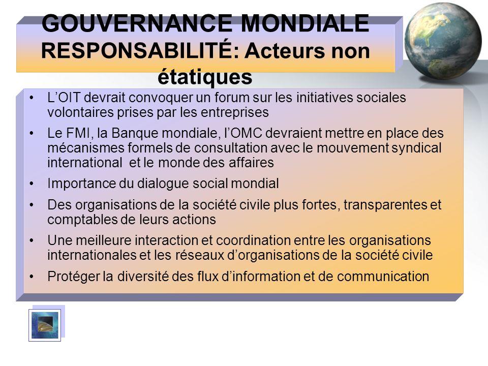 GOUVERNANCE MONDIALE RESPONSABILITÉ: Acteurs non étatiques LOIT devrait convoquer un forum sur les initiatives sociales volontaires prises par les ent