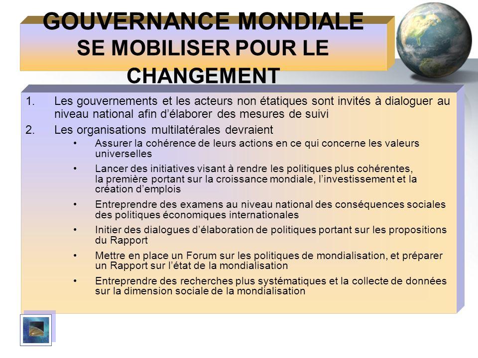 GOUVERNANCE MONDIALE SE MOBILISER POUR LE CHANGEMENT 1.Les gouvernements et les acteurs non étatiques sont invités à dialoguer au niveau national afin