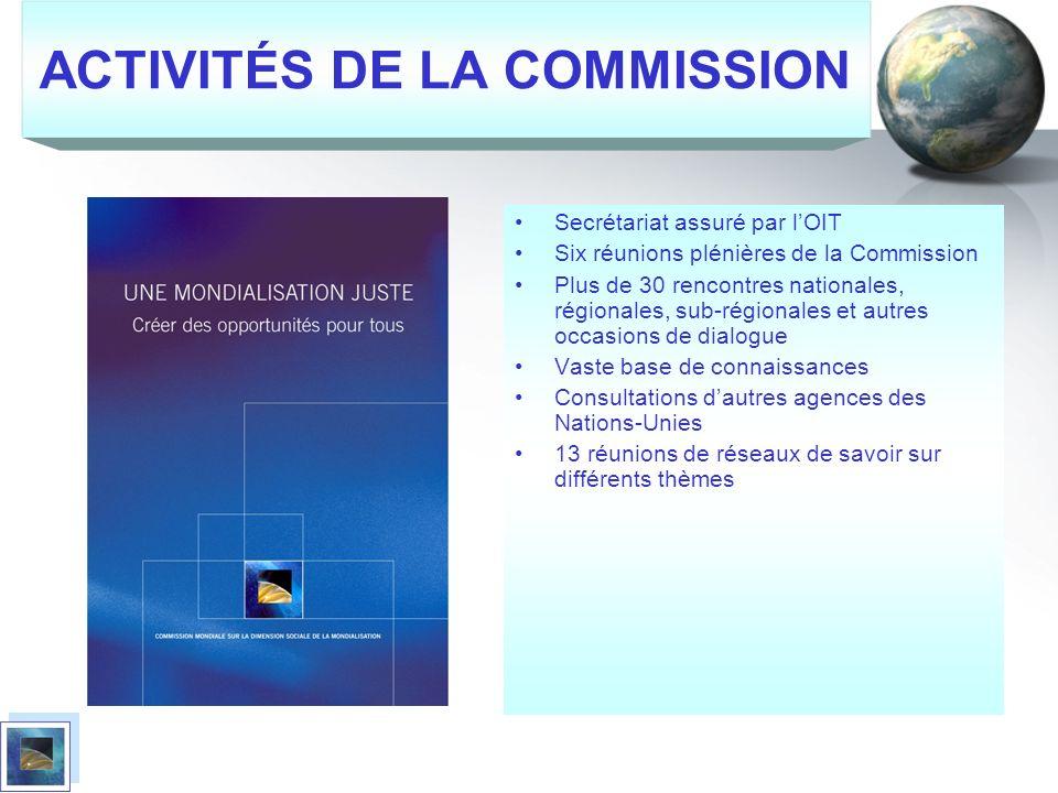 ACTIVITÉS DE LA COMMISSION Secrétariat assuré par lOIT Six réunions plénières de la Commission Plus de 30 rencontres nationales, régionales, sub-régio