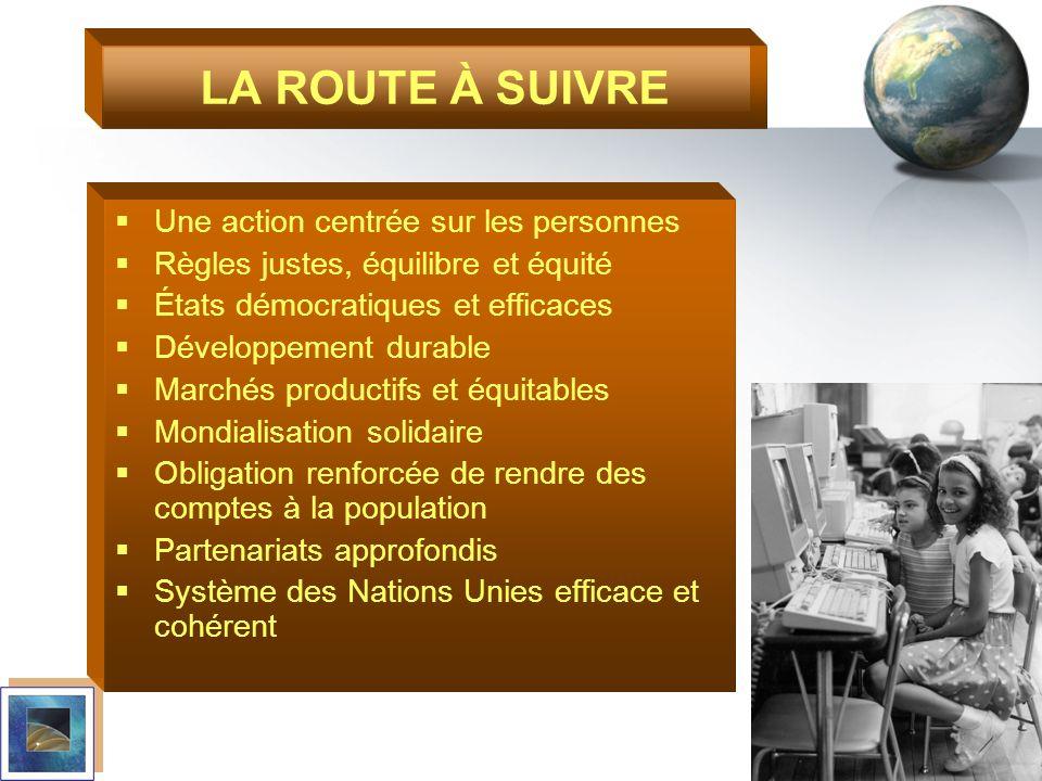 LA ROUTE À SUIVRE Une action centrée sur les personnes Règles justes, équilibre et équité États démocratiques et efficaces Développement durable March