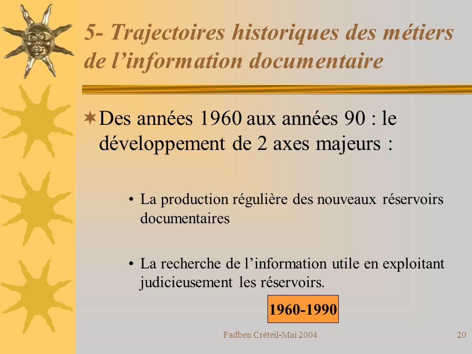 Fadben Créteil-Mai 200419 5- Trajectoires historiques des métiers de linformation documentaire La première partie du 20ème siècle: lorganisation et la structuration des accès aux collections de documents.