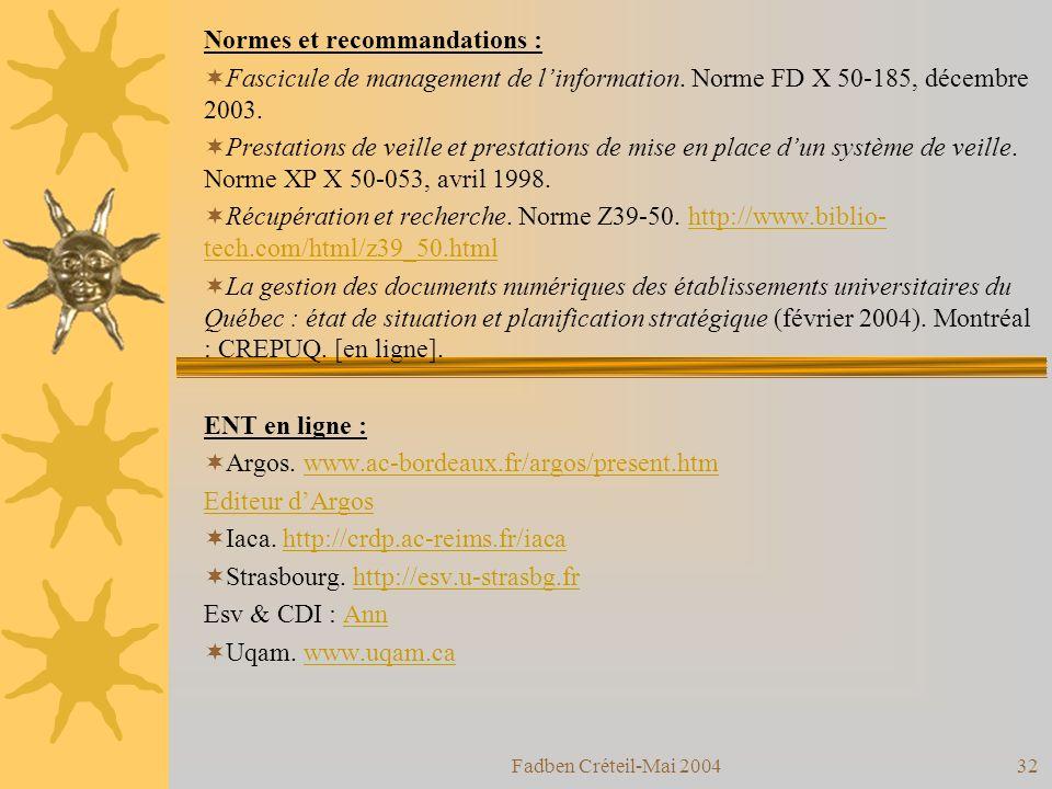 Fadben Créteil-Mai 200431 8- Eléments bibliographiques : Bazin, Patrick.