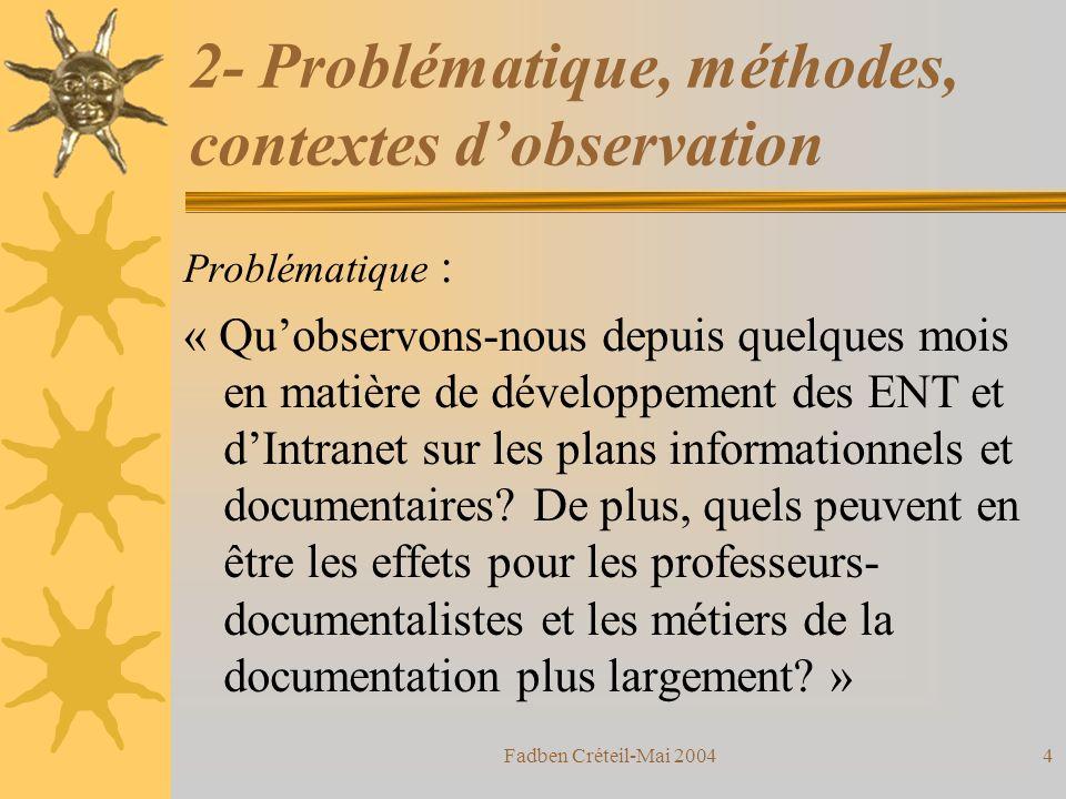Fadben Créteil-Mai 200414 Lapproche ENT par « individu-temps » Asynchrone Synchrone Fonctionnalités déchanges multi-utilisateurs Fonctionalités de prise dinfo.