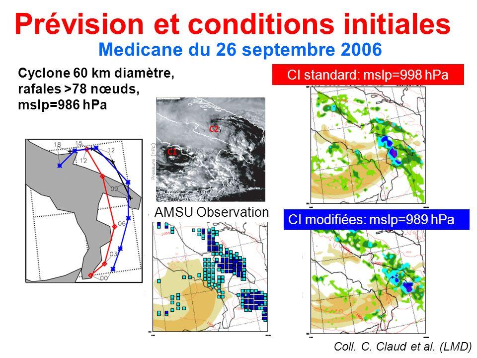Prévision et conditions initiales Coll. C. Claud et al. (LMD) Medicane du 26 septembre 2006 AMSU Observation CI modifiées: mslp=989 hPa CI standard: m