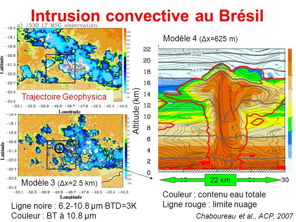 Intrusion convective au Brésil Modèle 3 (Δx=2.5 km) Ligne noire : 6.2-10.8 µm BTD=3K Couleur : BT à 10.8 µm Chaboureau et al., ACP, 2007 Altitude (km) 22 km Modèle 4 (Δx=625 m) Couleur : contenu eau totale Ligne rouge : limite nuage Trajectoire Geophysica