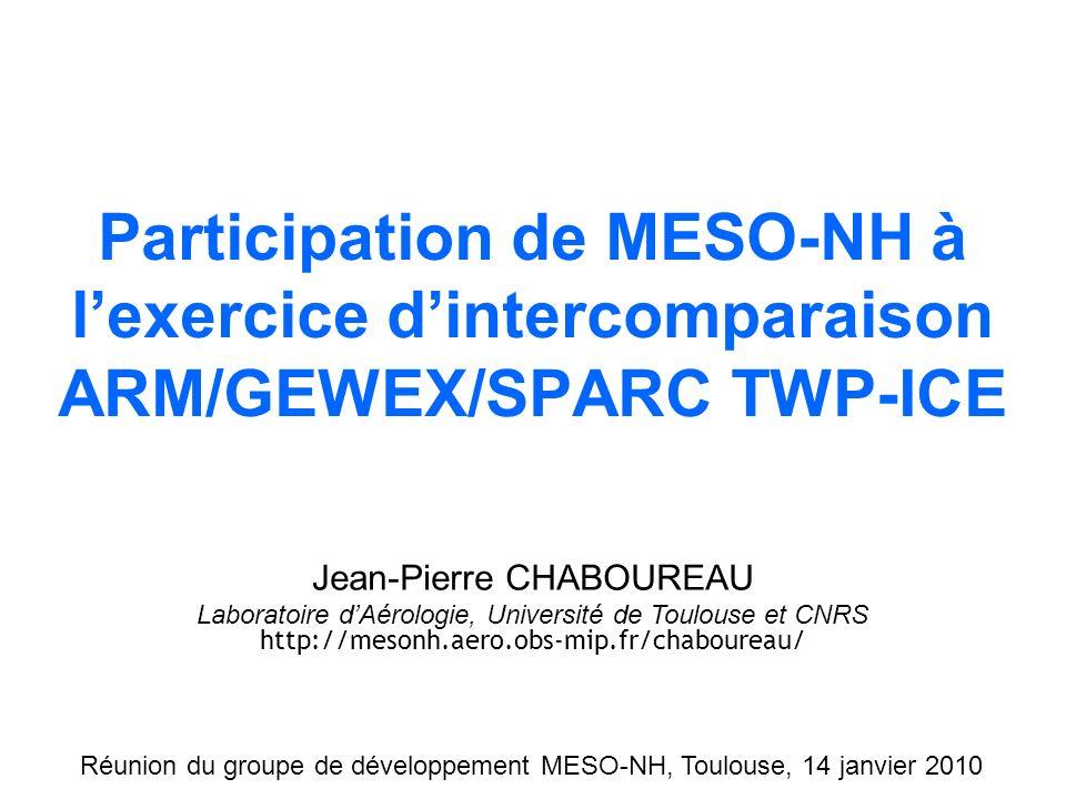 Simulation Méso-NHObservation MSG Participation de MESO-NH à lexercice dintercomparaison ARM/GEWEX/SPARC TWP-ICE Jean-Pierre CHABOUREAU Laboratoire dAérologie, Université de Toulouse et CNRS http://mesonh.aero.obs-mip.fr/chaboureau/ Réunion du groupe de développement MESO-NH, Toulouse, 14 janvier 2010