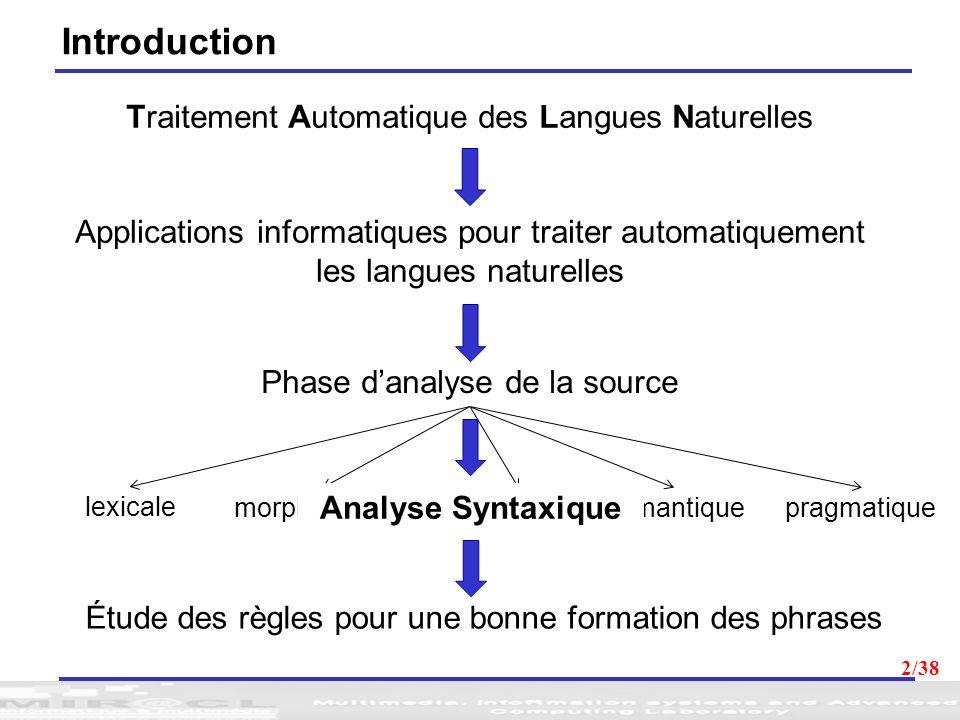 2 Traitement Automatique des Langues Naturelles Applications informatiques pour traiter automatiquement les langues naturelles Phase danalyse de la so