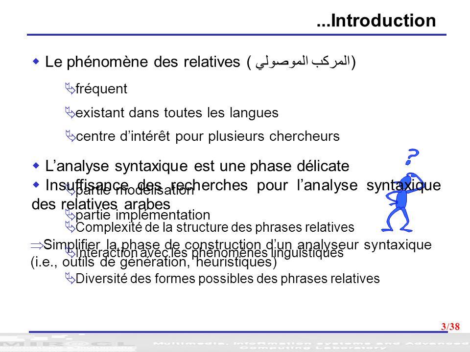 14 HPSG pour les relatives arabes HPSG (Head-driven Phrase Structure Grammar) (Sag, 1994) Théorie dunification évoluée à base de contraintes Modélisation de principes grammaticaux universels Richesse des entrées lexicales 14/38