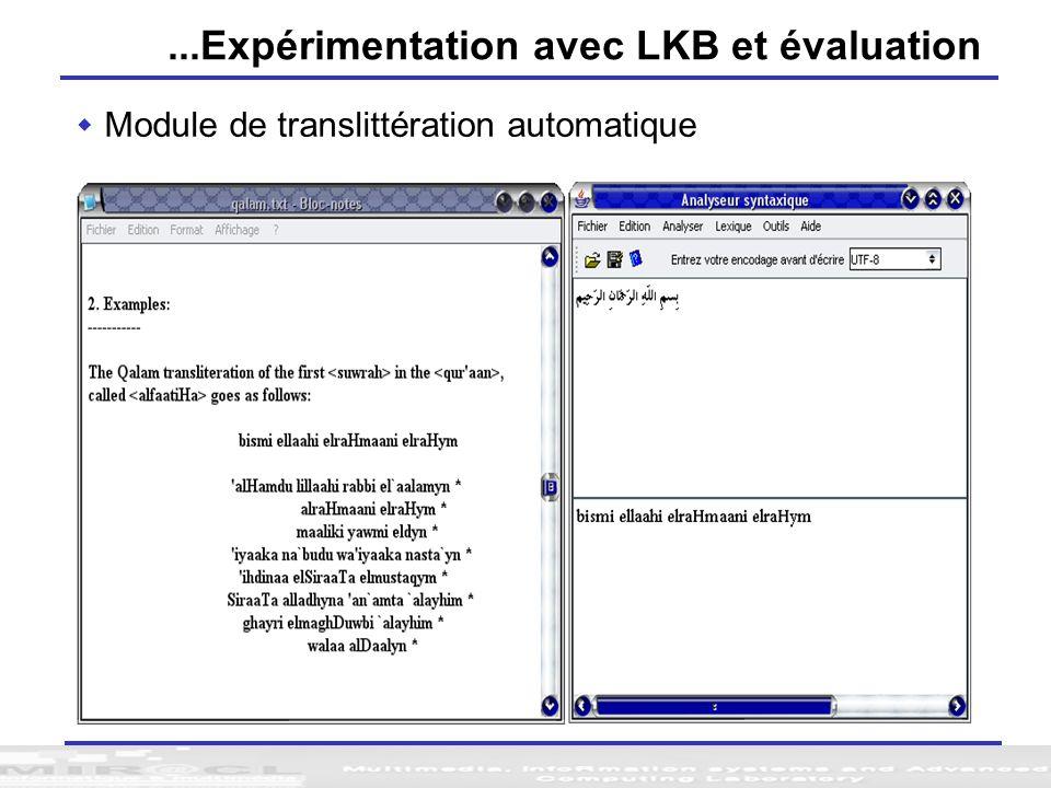 ...Expérimentation avec LKB et évaluation Module de translittération automatique