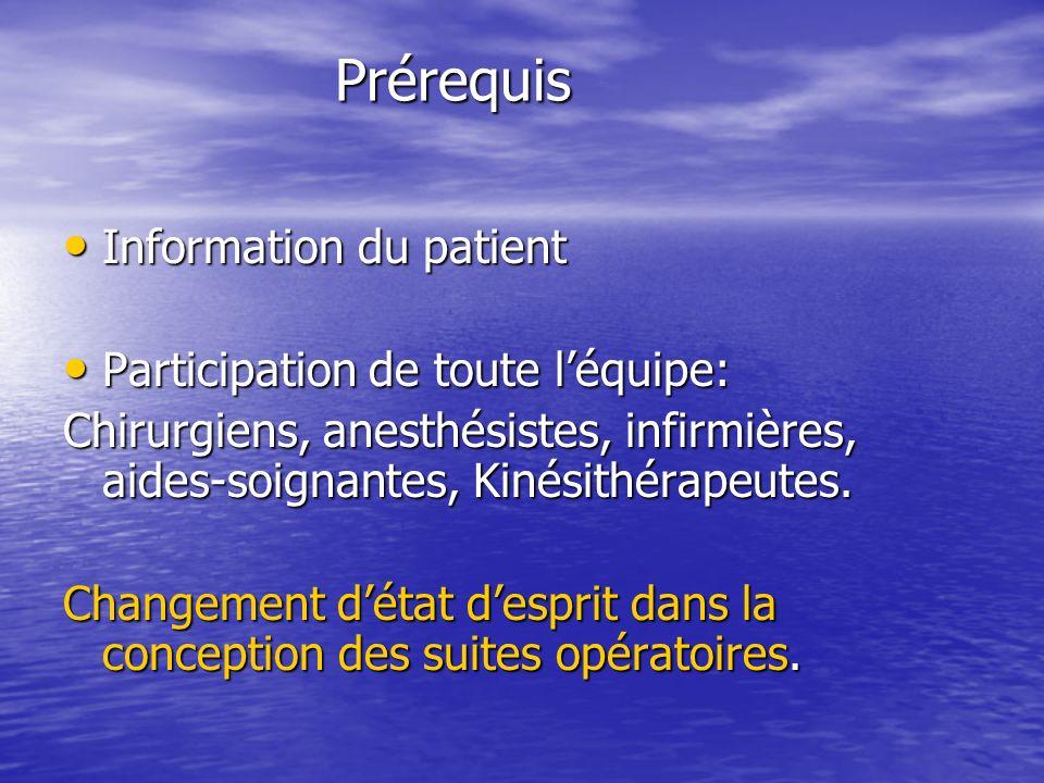 Prérequis Prérequis Information du patient Information du patient Participation de toute léquipe: Participation de toute léquipe: Chirurgiens, anesthésistes, infirmières, aides-soignantes, Kinésithérapeutes.