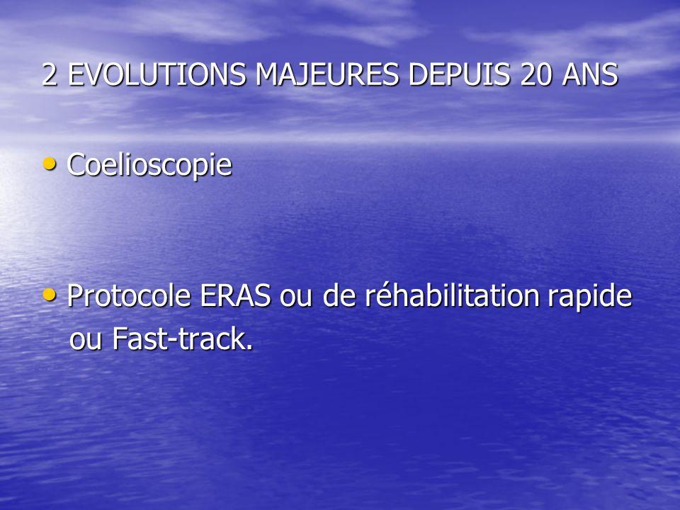 2 EVOLUTIONS MAJEURES DEPUIS 20 ANS Coelioscopie Coelioscopie Protocole ERAS ou de réhabilitation rapide Protocole ERAS ou de réhabilitation rapide ou Fast-track.