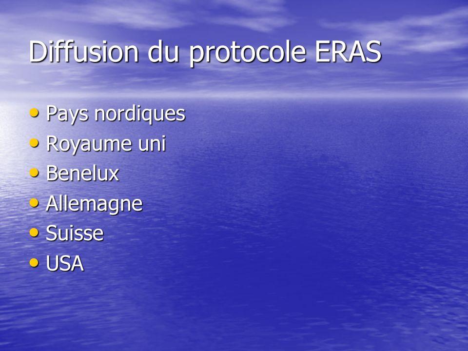 Diffusion du protocole ERAS Pays nordiques Pays nordiques Royaume uni Royaume uni Benelux Benelux Allemagne Allemagne Suisse Suisse USA USA